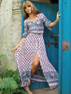 Multicolor Maxi Dress With Print Split Chiffon for Women