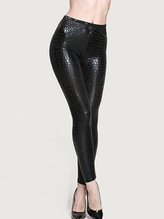 Black Patent PU Slim Fit Leggings for Women