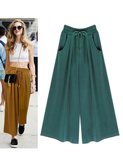 Green Lace Up Acetate Pleated Pants for Women