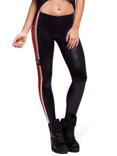 Black Stripes Spandex Shaping Leggings for Women