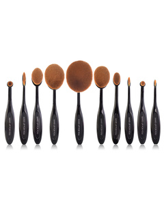 Black Makeup Brush Sets With Synthetic Fibers