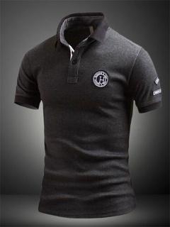 Deep Gray Print Cotton Polo Shirt for Men