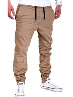 Khaki Lace Up Straight Cotton Pants for Men