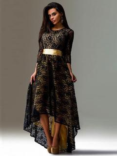 Black High-Low Sash Lace Maxi Dress