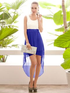 Color Block High-Low Cut-Out Chiffon Dress