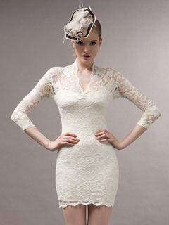 White Deep-V Semi-Sheer Spandex Short Dress for Women