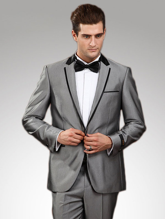 Silver Groom Buttons Matte Satin Suit for Men