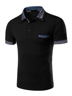 Black Chic Print Cotton Polo Shirt for Men