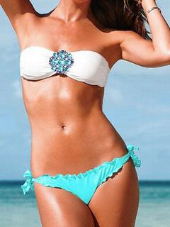 Color Block Bikini Strapless Lace Up Rhinestone Spandex Swimwear