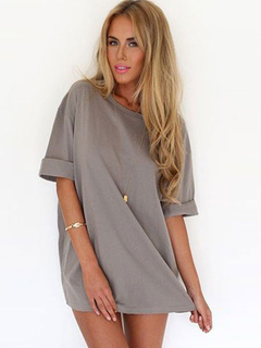 Gray T-Shirt Oversized Cotton Blend T-Shirt for Women