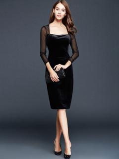 Black Knee-Length Dress Semi-Sheer Mesh Flannel Dress