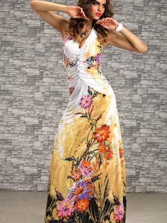 Vestido largo estampado flores boda