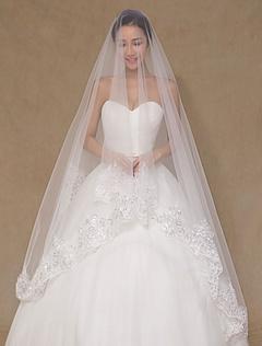 One-Tier Applique Wedding Veil Tulle Lace Trendy Bridal Veil(300cm Length)