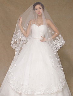 One-Tier Wedding Veil Applique Semi-Sheer Lace Stylish Bridal Veil (300cm Length)