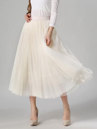 Apricot Skirt Pleated Tea-Length Crepe Skirt for Women