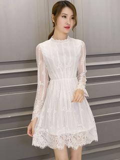 Vintage Style Lace Dress Illusion Long Sleeve Retro Dress For Women