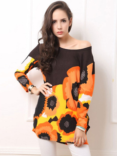 Multicolor Shift Dress Floral Print Cashmere Dress