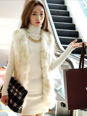 Ecru White Chic Vest Faux Fur Polyester Vest for Women