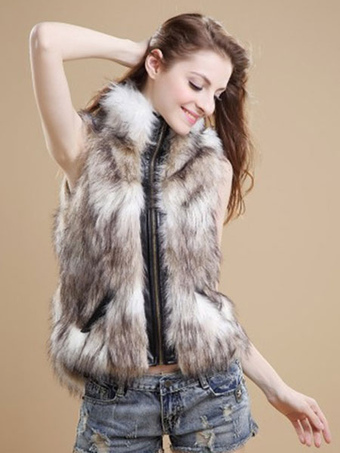Women Faux Fur Vest Zippered Faux Fur Coat Sleeveless Leather Jacket