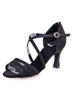Rhinestone Baile PU sandalias las tacones latino para corte mujeres rojo qxtpwF