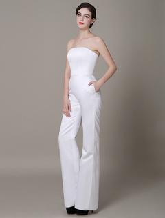 White Satin Wedding Suits Strapless High Waist Red Carpet Dress Milanoo