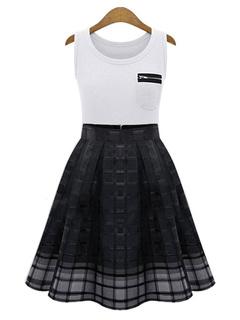 Color Block Flare Dress Checkered Organza Chic Dress