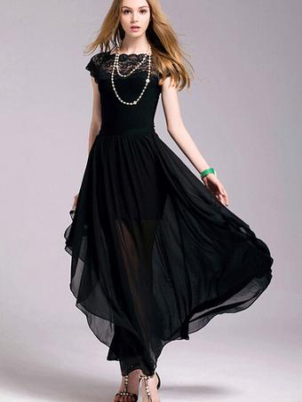 Black Maxi Dress Slim Fit Chiffon Lace Dress