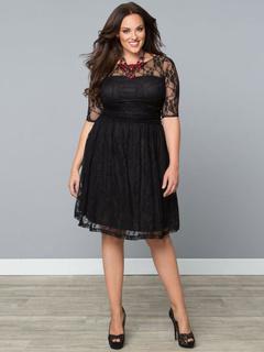 Black Lace Dress Vintage Style Sheer Short Sleeve Skater Dress For Women