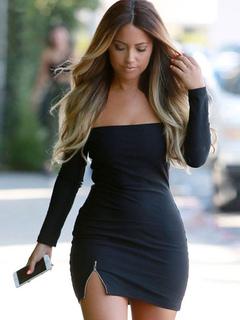 Black Bodycon Dress Off-The-Shoulder Strapless Split Spandex Club Dress