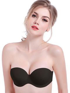 Black Strapless Bra Cotton Lingerie for Women