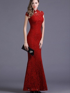 Red Bodycon Dress Mermaid Cut Out Lace Maxi Dress