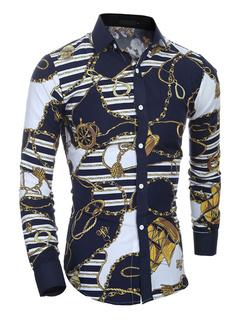 Multicolor Shirt Print Chic Cotton Shirt for Men