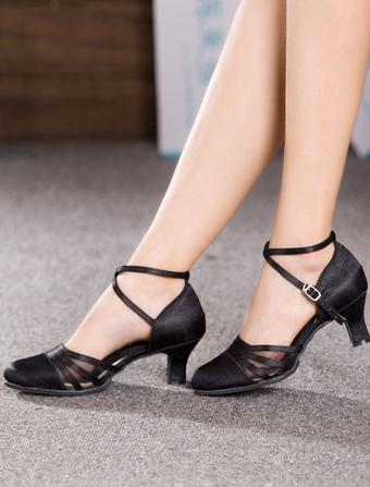 Zapatos baile latino 2019 Zapatos de salón negros de Criss Cross Zapatos de  baile satinado 2019 976b6a449d6a
