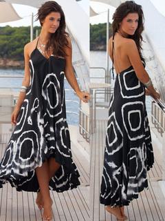 Halter Straps Maxi Dress Backless High-Low Print Cotton Dress