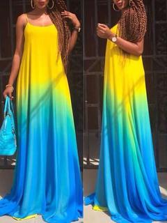 Ombre Maxi Dress Straps Multicolor Cotton Summer Dress