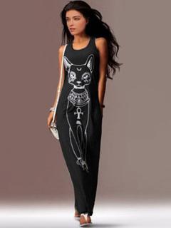 Animal Print Maxi Dress Black Shift Cotton Dress