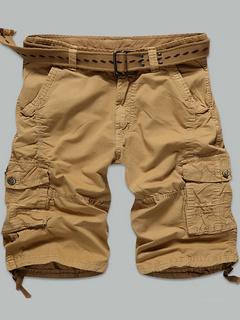 Pockets Shorts Earth Yellow Zipper Cotton Shorts for Men