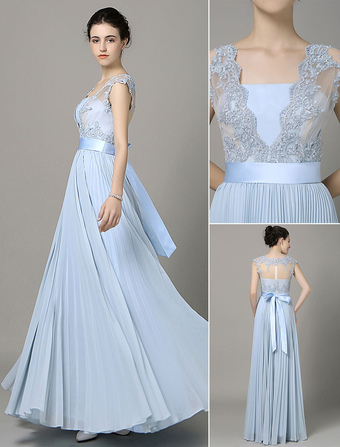 aac966b1583 Blue Prom Dress 2019 Long Chiffon Lace Applique Bridesmaid Dress V Neck Bow  Sash Pleated Floor