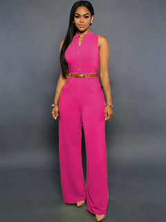 Sash Buttons Jumpsuit Rose Red Polyester Jumpsuit for Women