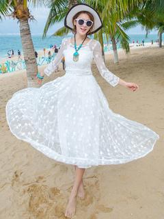 Lace Maxi Dress Semi-Sheer Slim Fit Dress