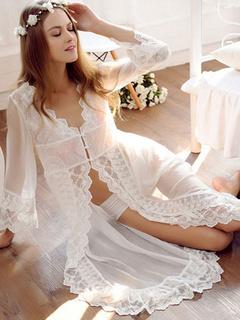 Nuisette blanche dentelle semi Sheer robe brodée