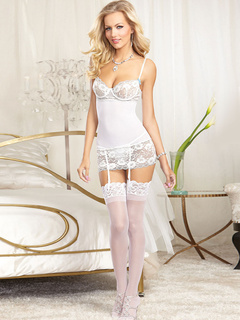 White Babydoll Straps Lace Cut Out Spandex Gater Belts for Women