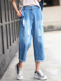 Blue Jeans Distressed Denim Jeans for Women