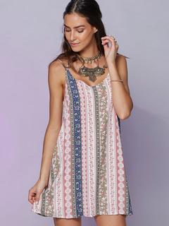 Straps Shift Dress Multicolor Backless Print Dress