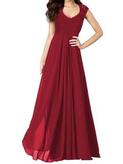 Red Maxi Dress Ruffles Slim Fit Lace Dress