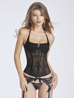 Black Halter Straps Corsets Backless Semi-Sheer Polyester Bustier For Women