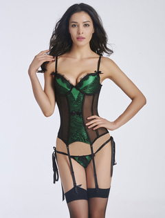 Green Semi-Sheer Bustier Lace Tulle Corsets For Women