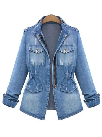 9c9d5c3af7c Denim Jacket Military Women Jacket Zippered Spring Coat