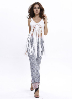 White Split Cover Up Chiffon Cut Out Cover Up For Women
