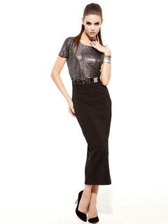 Black Split Spandex Chic Skirt For Women